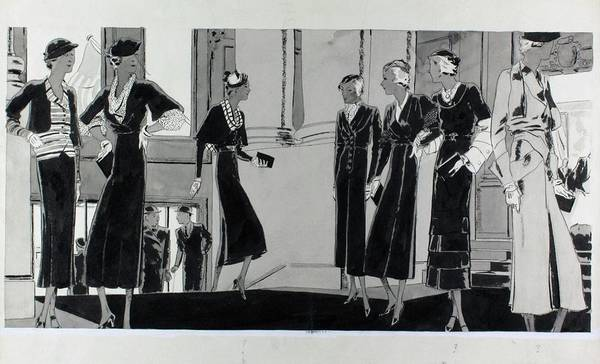 Lanvin Digital Art - Illustration Of Women In A Building Lobby by Jean Pages