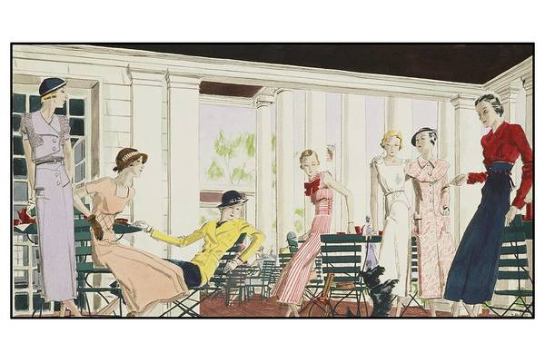 Sports Digital Art - Illustration Of Women On Terrace by Jean Pages