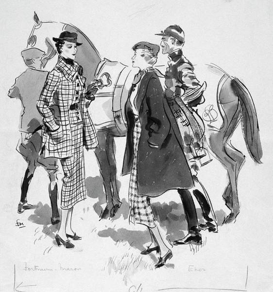 Race Horse Digital Art - Illustration Of Women Standing In Front Of Racing by Francis Marshall