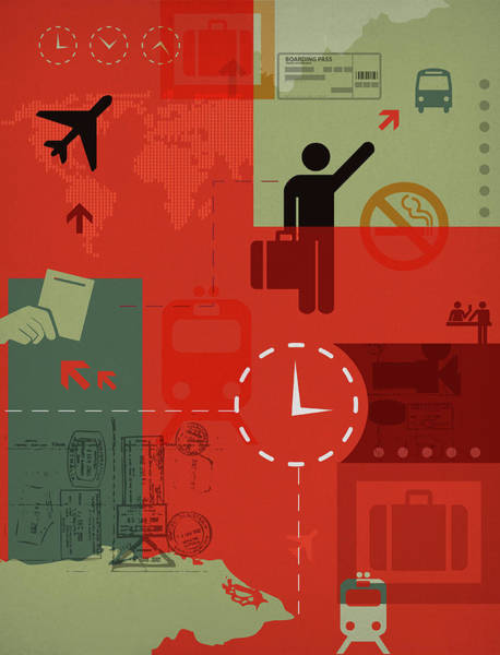 Boarding Pass Photograph - Illustration Of World Travel And Transport by Fanatic Studio / Science Photo Library