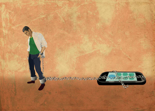 Casual Photograph - Illustration Of Young Man Chained To A Mobile Phone by Fanatic Studio / Science Photo Library