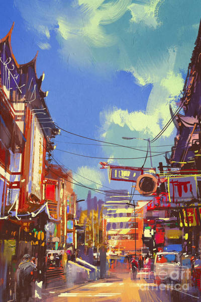 Buildings Digital Art - Illustration Painting Of Shopping by Tithi Luadthong