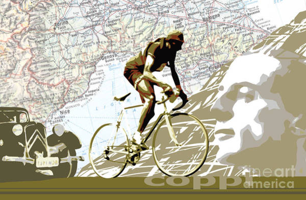 Wall Art - Digital Art - Illustration Print Giro De Italia Coppi Vintage Map Cycling by Sassan Filsoof