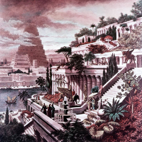 Wall Art - Painting - Illustration Seven Wonders by Vintage Images
