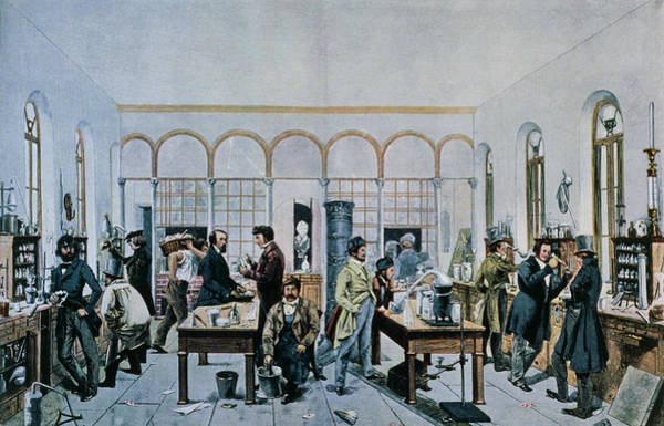Liebig Wall Art - Photograph - Illustration Showing Liebig's Teaching Laboratory by J-l Charmet/science Photo Library