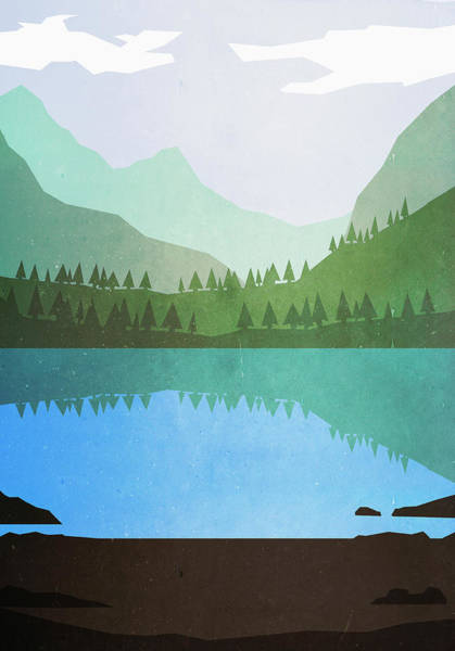 Digital Art - Illustrative Image Of Lake And Mountains by Malte Mueller