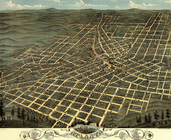 Collectible Art Drawing - Illustrative Map Of Atlanta 1871 by Mountain Dreams