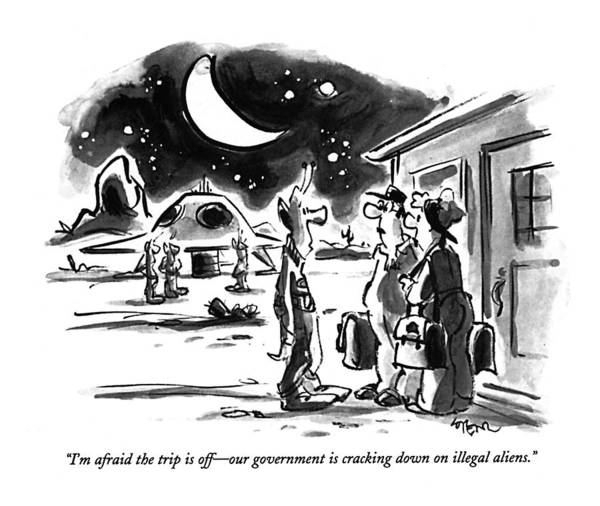 Luggage Drawing - I'm Afraid The Trip Is Off - Our Government by Lee Lorenz