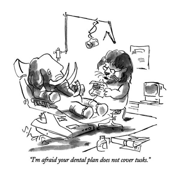 Elephants Drawing - I'm Afraid Your Dental Plan Does Not Cover Tusks by Sidney Harris