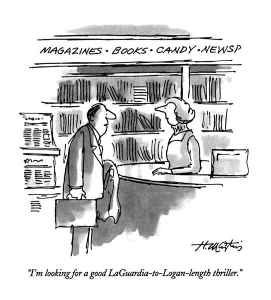 Bookstore Drawing - I'm Looking For A Good Laguardia-to-logan-length by Henry Martin