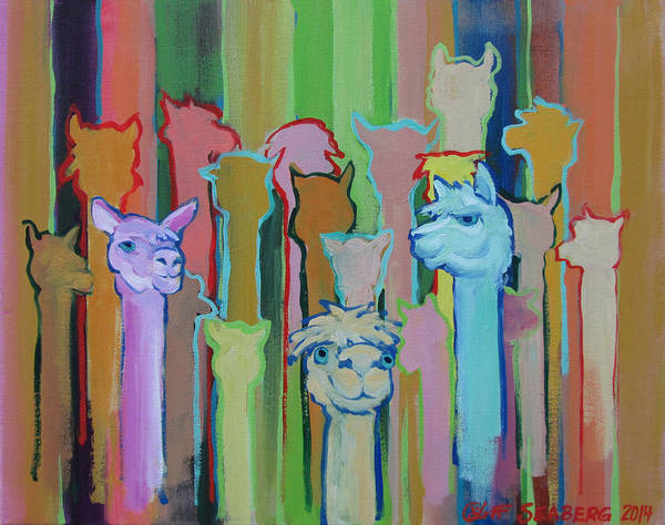 Alpaca Painting - I'm So Happy You Came by Jeff Seaberg