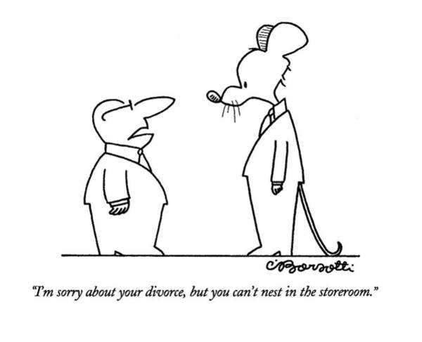 Animals In Suits Wall Art - Drawing - I'm Sorry About Your Divorce by Charles Barsotti