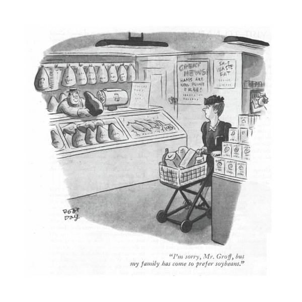 Butcher Drawing - I'm Sorry, Mr. Groff, But My Family Has Come by Robert J. Day