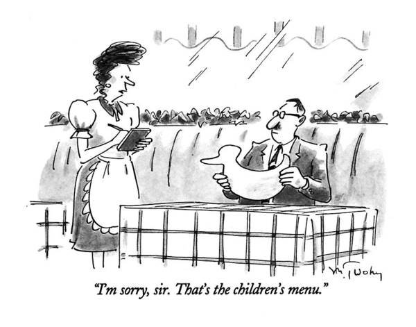 Waitress Wall Art - Drawing - I'm Sorry, Sir. That's The Children's Menu by Mike Twohy