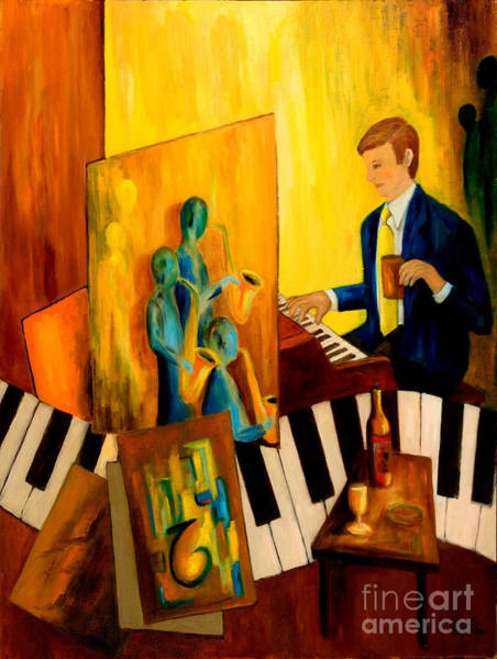 Piano Bar Painting - Imaginating by Larry Martin