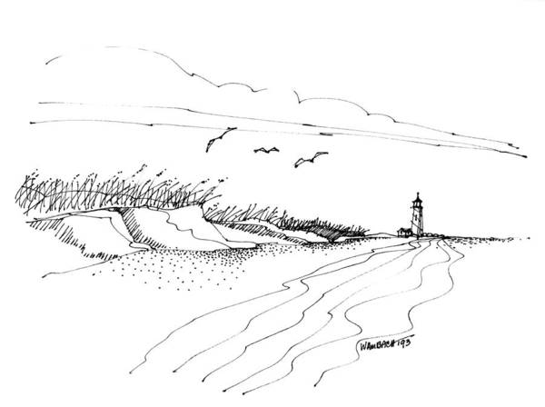Drawing - Imagination 1993 - Atlantic Coast Beach No 2 by Richard Wambach