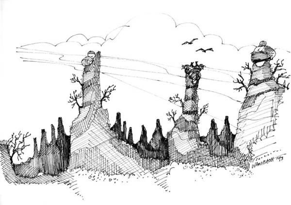 Drawing - Imagination 1993 - Eagles Over Desert Rocks by Richard Wambach