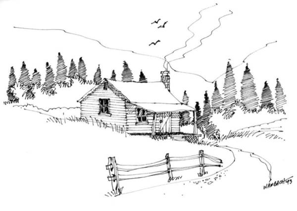 Drawing - Imagination 1993 - Mountain Cabin by Richard Wambach