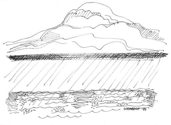 Drawing - Imagination 1993 - Storm At Sea by Richard Wambach