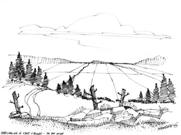 Drawing - Imagination 1993 - Vast Valley View by Richard Wambach