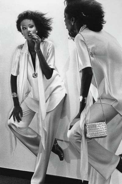Mirror Photograph - Iman Checking Her Lipstick In A Mirror by Chris Von Wangenheim