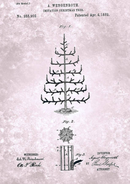 Painting - Imitation Christmas Tree Patent From 1882 by Celestial Images