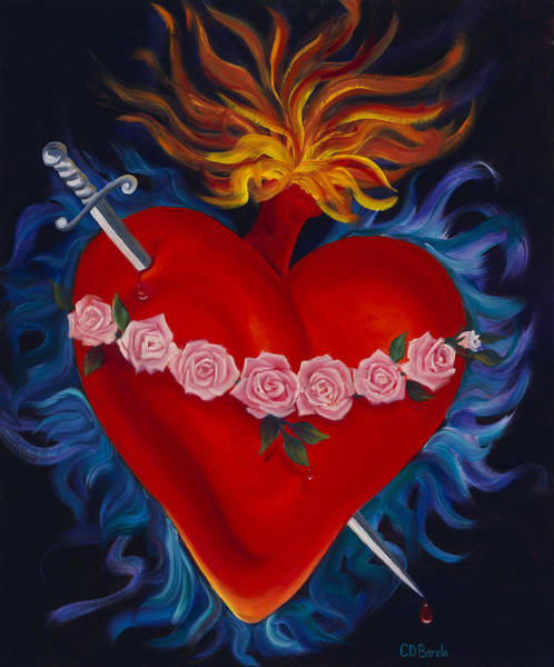 Flaming Sword Painting - Immaculate Heart Of Mary by Carolyn D Barela