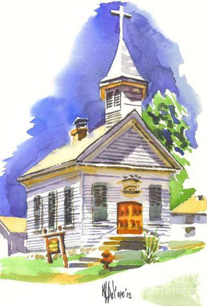 Painting - Immanuel Evangelical Lutheran Church Pilot Knob Missouri by Kip DeVore