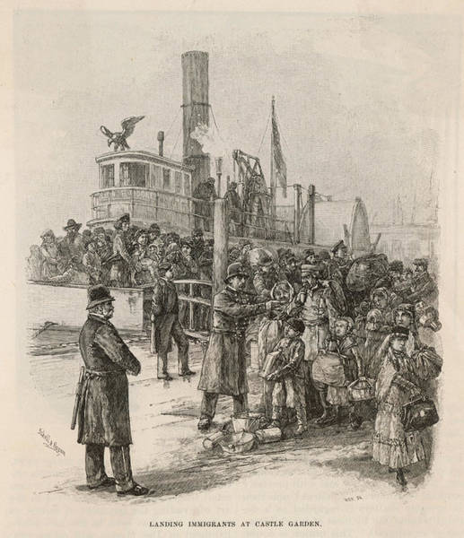 Wall Art - Drawing - Immigrants Land At Castle Garden, New by Mary Evans Picture Library