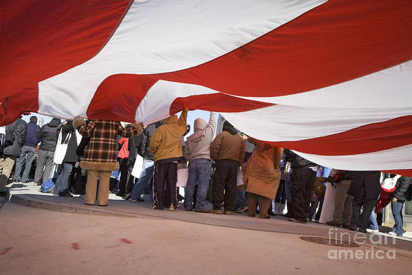 Photograph - Immigrants With Flag by Jim West