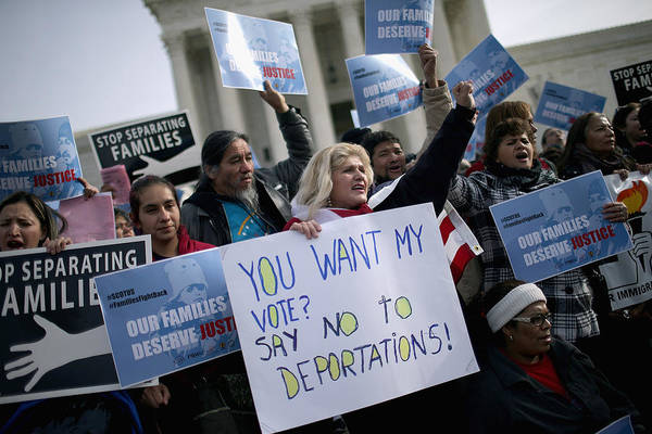 Immigration Activists Rally In Front Of U.s. Supreme Court Art Print by Chip Somodevilla