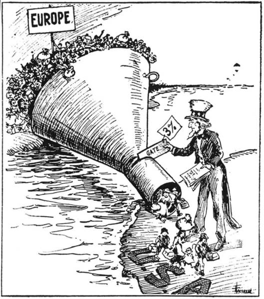 Uncle Sam Painting - Immigration Cartoon, 1921 by Granger