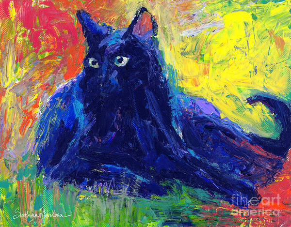 Russian Impressionism Wall Art - Painting - Impasto Black Cat Painting by Svetlana Novikova
