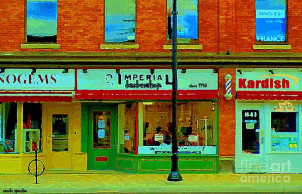 Painting - Imperial Barber Shop The Glebe Kardish Bulk Food Grocers Old Ottawa South Cityscenes Carole Spandau by Carole Spandau