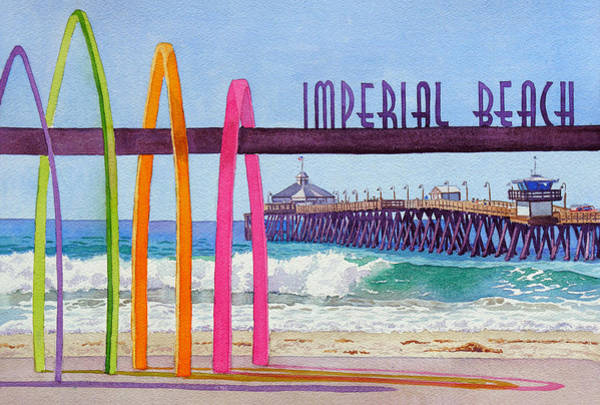 Wall Art - Painting - Imperial Beach Pier California by Mary Helmreich