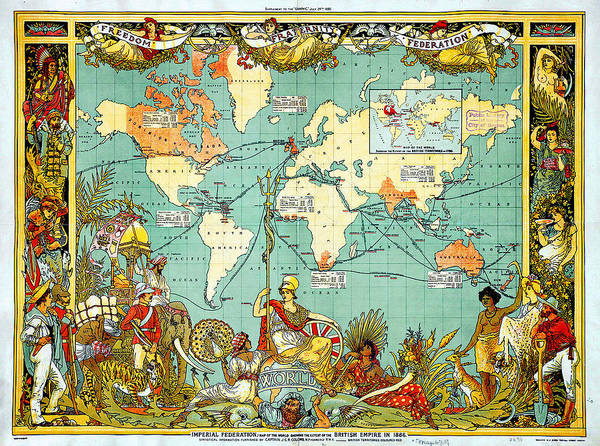 Wall Art - Painting - Imperial Federation Map Of The World Showing The Extent Of The British Empire In 1886 Levelled by MotionAge Designs