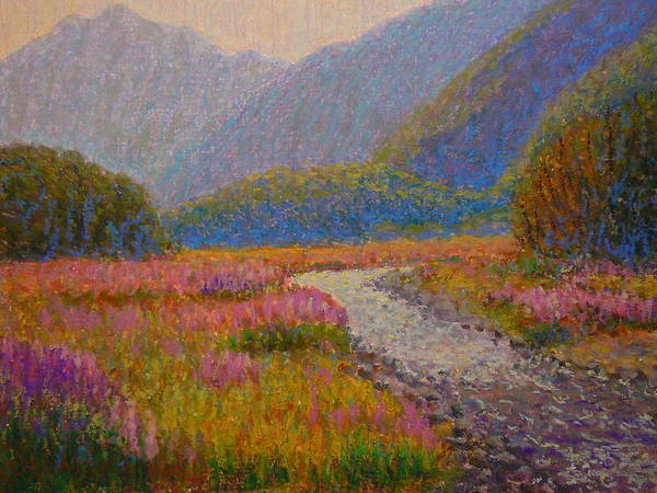 Nz.impressionist Painting - Impression Lupins Cascade Creek by Terry Perham