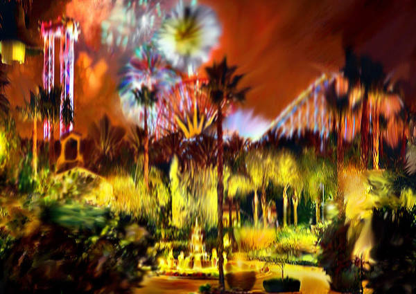 Painting - Impression Of Knotts Berry  Farm At Night by Bob and Nadine Johnston