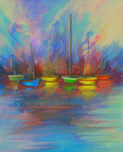 Impressionistic Sailboats Painting - Impressions Of A Newport Beach Sunset by Angela Stanton