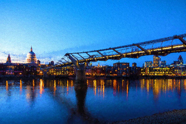 Digital Art - Impressions Of London - Millennium Bridge And St. Paul's Cathedral by Georgia Mizuleva