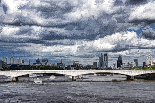 Digital Art - Impressions Of London - Stormy Skies Skyline by Georgia Mizuleva