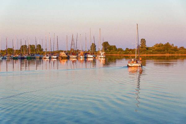 Wake Digital Art - Impressions Of Summer - Sailing Home At Sundown by Georgia Mizuleva