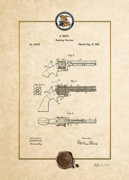 Digital Art - Improvement In Revolving Firearms By R. White - Vintage Patent Document by Serge Averbukh