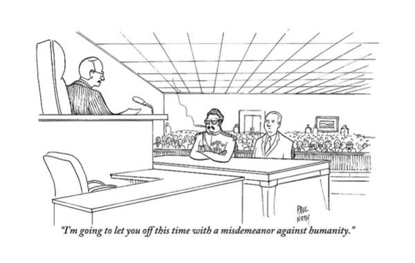Trials Drawing - In A Courtroom by Paul Noth