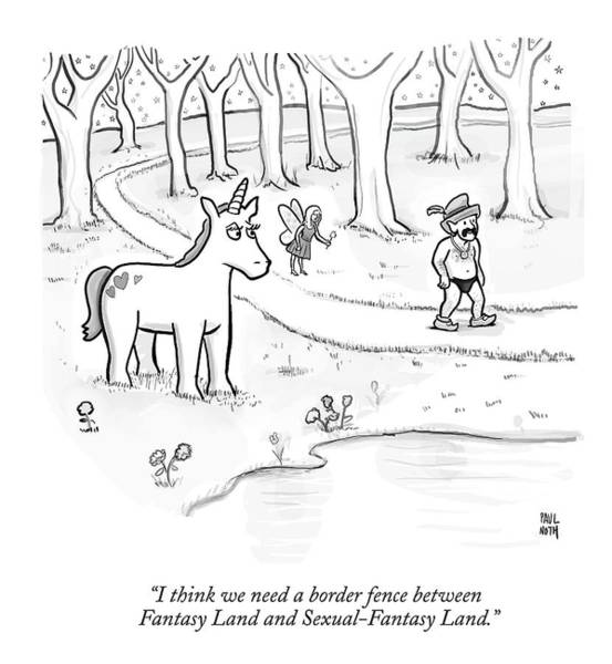 Fence Drawing - In A Forest by Paul Noth