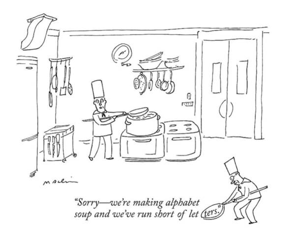 Cartoon Drawing - In A Kitchen by Michael Maslin