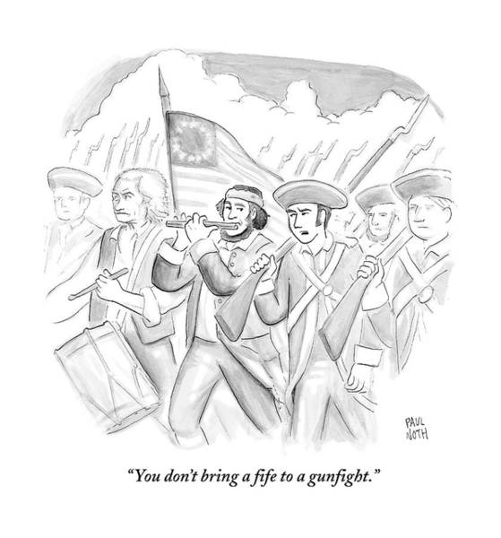 Military Drawing - In A Military March by Paul Noth