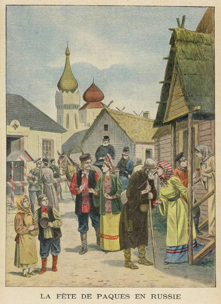 Wall Art - Drawing - In A Russian Village, Friends by Mary Evans Picture Library