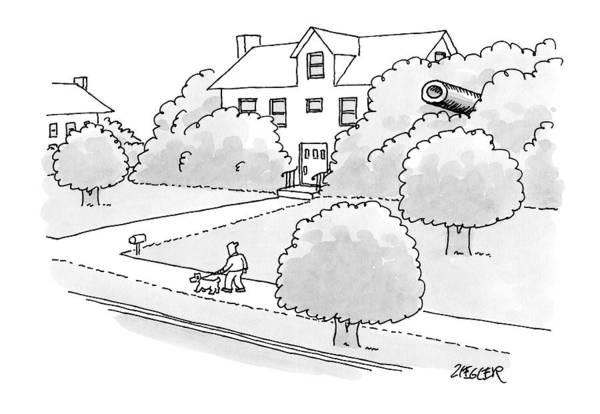 Suburb Drawing - In A Suburban Neighborhood by Jack Ziegler