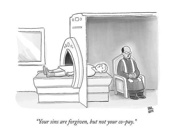 Cats Drawing - In An Mri Machine by Paul Noth